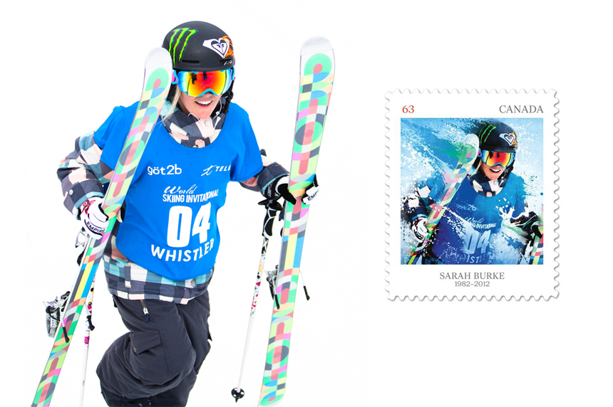 Sarah Burke, Canada Post Stamp, Canadian Women Winter Athletes, Pioneers of Winter Sports, Spencer Kovats Photo